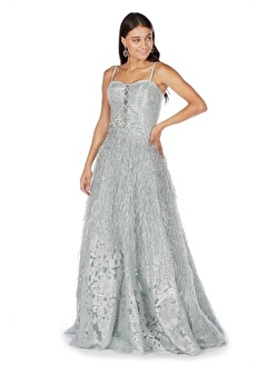 Carmen Mint Jakar Eteği Saçaklı Uzun Abiye Elbise